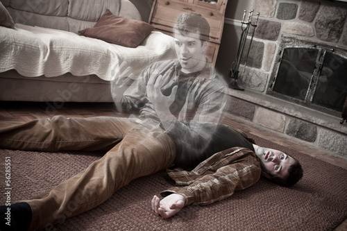Canvas Print Happy soul leaving a corpse lying on the floor