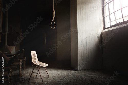 Fotografie, Obraz  Hangman Noose with thirteen loops setup in an abandoned building