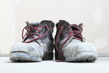 Pair Of Old Dirty Work Boots ...