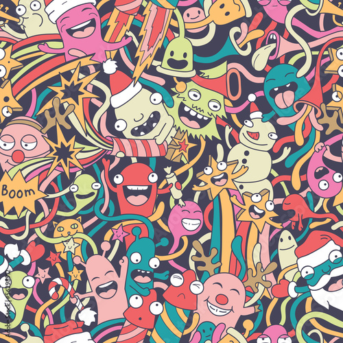 Aufkleber - Christmas seamless pattern with cute crazy monsters