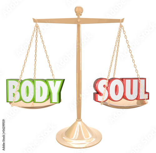 Fotografie, Obraz  Body and Soul Words Scale Balance Weighing Total Health