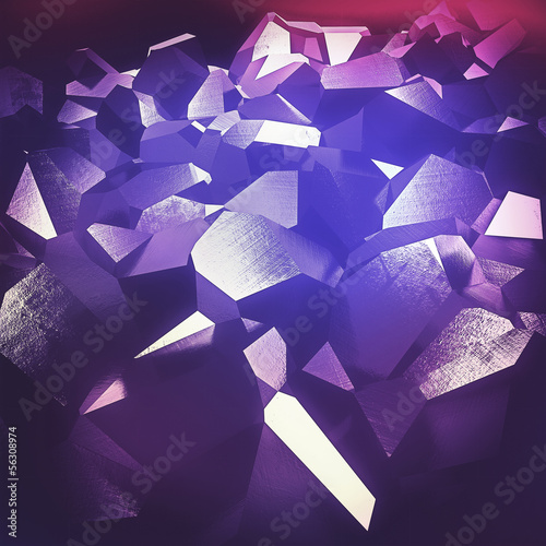 Beautiful abstract purple crystals backgournd - cgi render.