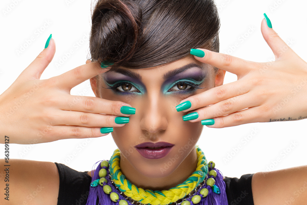 Fototapeta Girl with fancy hairstyle and makeup