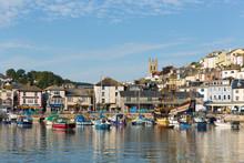 Brixham Harbour Devon With Boa...