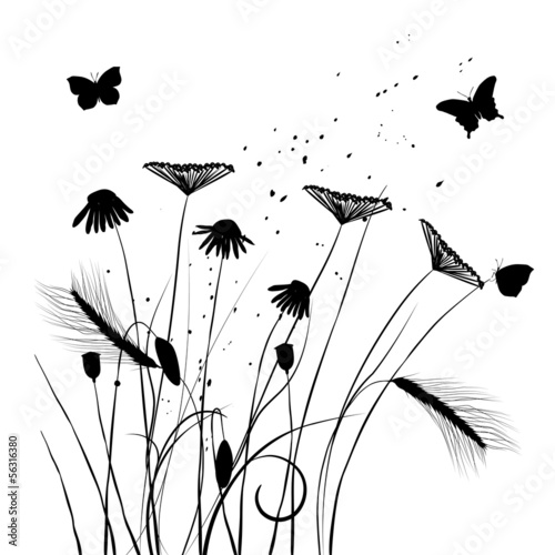 Poster de jardin Papillons dans Grunge Collection for designers, meadow in summertime, plant vector