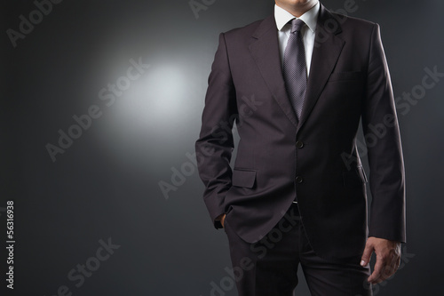 Fotografía  businessman in suit on gray background
