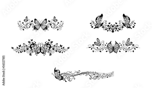 Deurstickers Vlinders in Grunge butterfly flourish