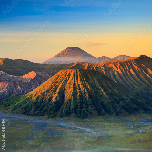 Bromo Volcano Mountain in Tengger Semeru National Park at sunris