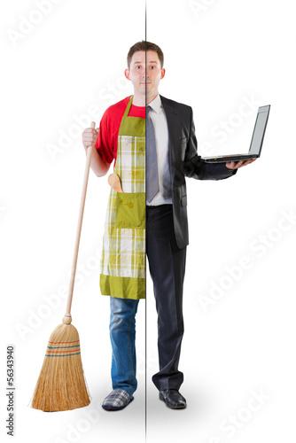Fotografía  Half ordinary man, half businessman