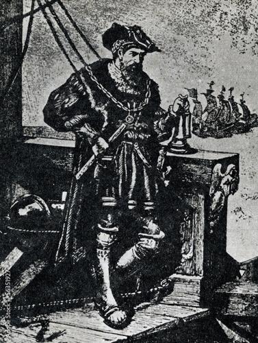 Vasco da Gama on his ship Canvas Print