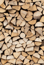 Stack Of Firewood Prepared For Winter