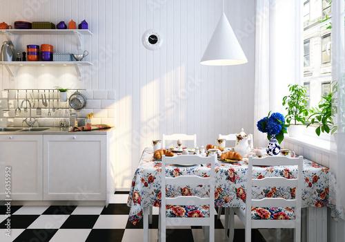 Fényképezés Wohnküche in Skaninavien - scandinavian style kitchen