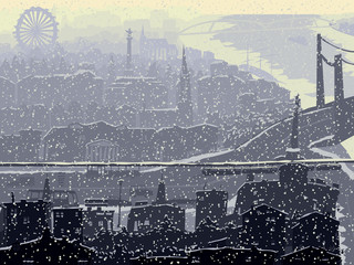 Abstract illustration of big snowy city.