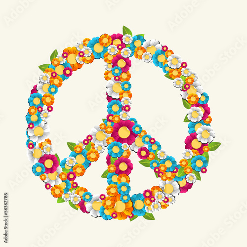Isolated peace symbol made with flowers composition EPS10 file. Poster