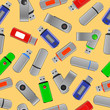 Colorful USB flash drives, seamless pattern