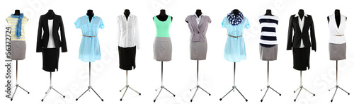 Obraz Collage of office clothes on mannequin  isolated on white - fototapety do salonu