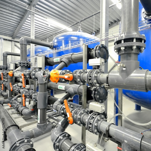 Keuken foto achterwand Industrial geb. new plastic pipes and equipment in industrial boiler ro