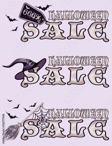 Halloween sale banners, vector illustration Poster