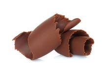 Chocolate Shavings On White Background .