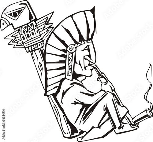 Vászonkép Native shaman smoking tobacco-pipe