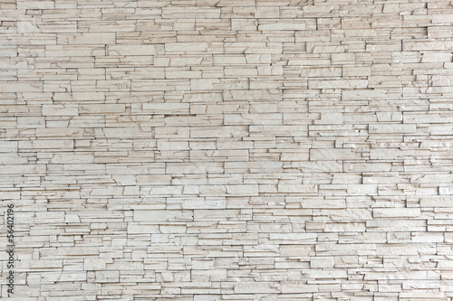 Foto op Canvas Stenen White Stone Tile Texture Brick Wall
