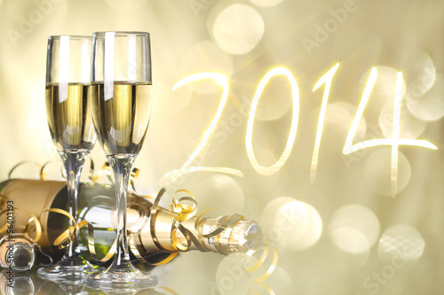 Celebration the new year 2014 Canvas Print