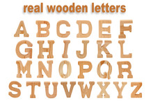 Wooden Letters A-z, Isolated On White