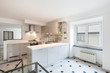 Interior, small apartment, white kitchen view