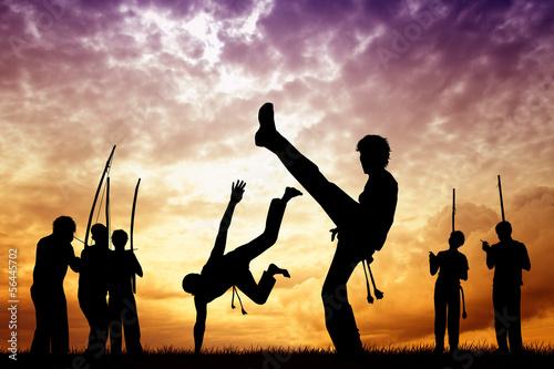 Photo  Capoeira at sunset