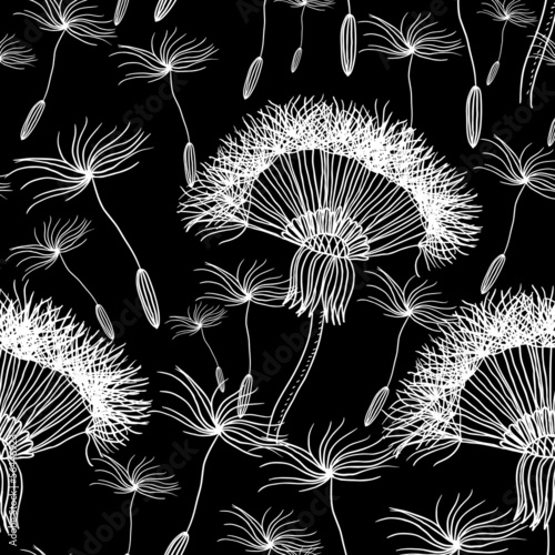 Seamless background with overblown dandelion - 56446923
