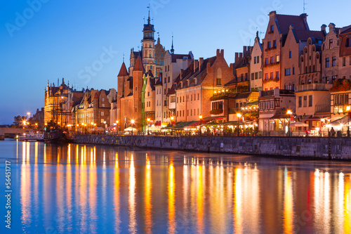 Architecture of old town in Gdansk at night, Poland