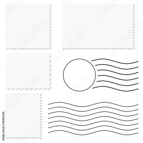 Cuadros en Lienzo  Briefmarke + Poststempel