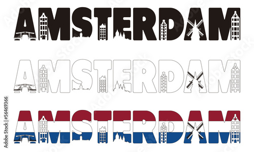 Photo  Amsterdam word with skyline including within