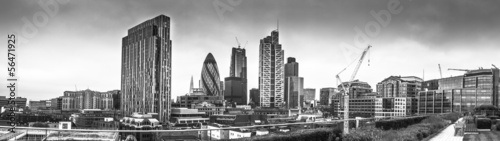 Aluminium Prints Dark grey London City Panorama