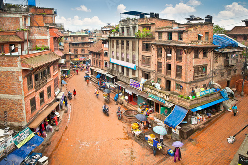 Wall Murals Nepal The present appearance of city street Bhaktapur, Nepal.