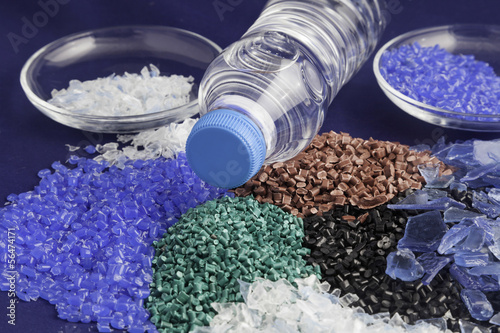 Photo  Recycled plastic polymers