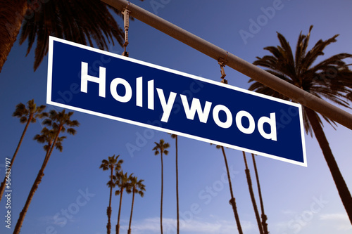 Photographie Hollywood  sign illustration over LA Palm trees