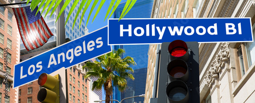 Photo  Hollywood Los angeles redlight signs on California photo-mount