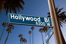 Hollywood Boulevard With  Sign...