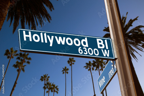 Photo  Hollywood Boulevard with  sign illustration on palm trees