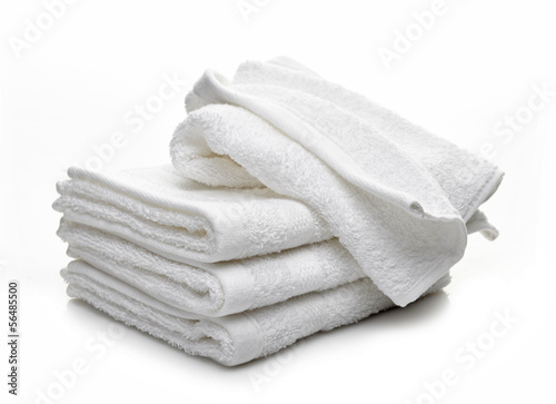 Fotografie, Obraz  Stack of white hotel towels on a white background