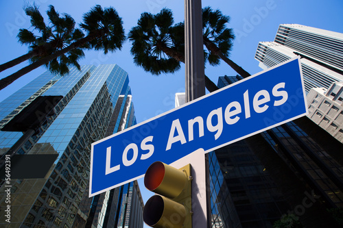 Photo sur Toile Los Angeles LA Los Angeles sign in redlight photo mount on downtown