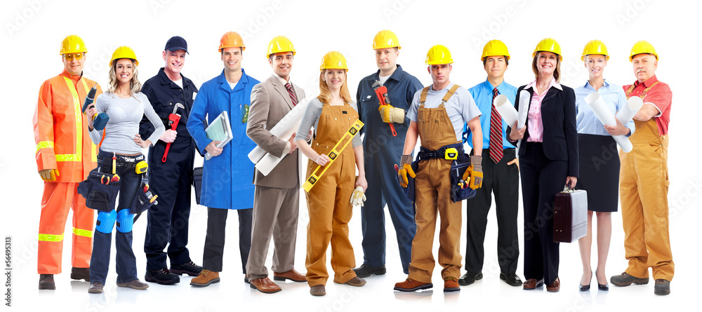 Fototapeta Construction workers group.