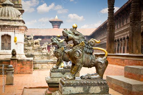 Wall Murals Nepal Lion statues on DurbarSquare in Bhaktapur, Kathmandu Valley, Nep