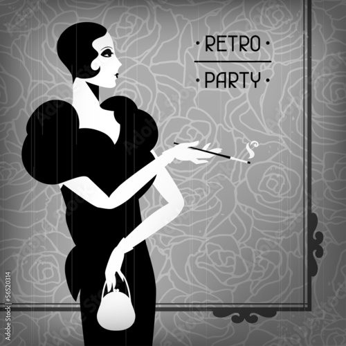 Photo  Retro party background with beautiful girl of 1920s style.