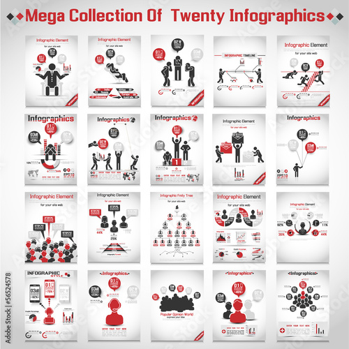 Fotografie, Tablou  MEGA COLLECTIONS OF TEN MODERN ORIGAMI BUSINESS ICON MAN