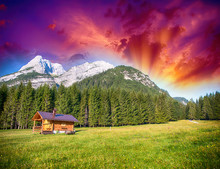 Alpin Hut With Meadows, Trees And Mountain Peaks - Summer Colors