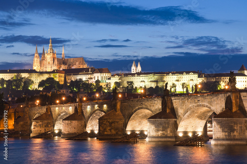 Foto op Canvas Praag St Vitus Cathedral, Prague Castle and Charles Bridge