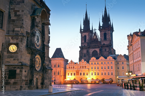 Canvas Prints Eastern Europe Old Town Hall, Church of our Lady Tyn, Prague