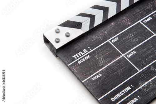 Photo  wooden clapper board isolated on white background